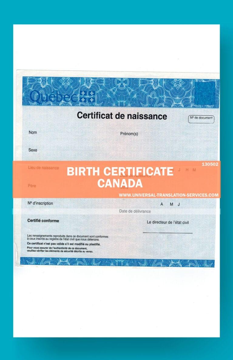 certificate birth canada