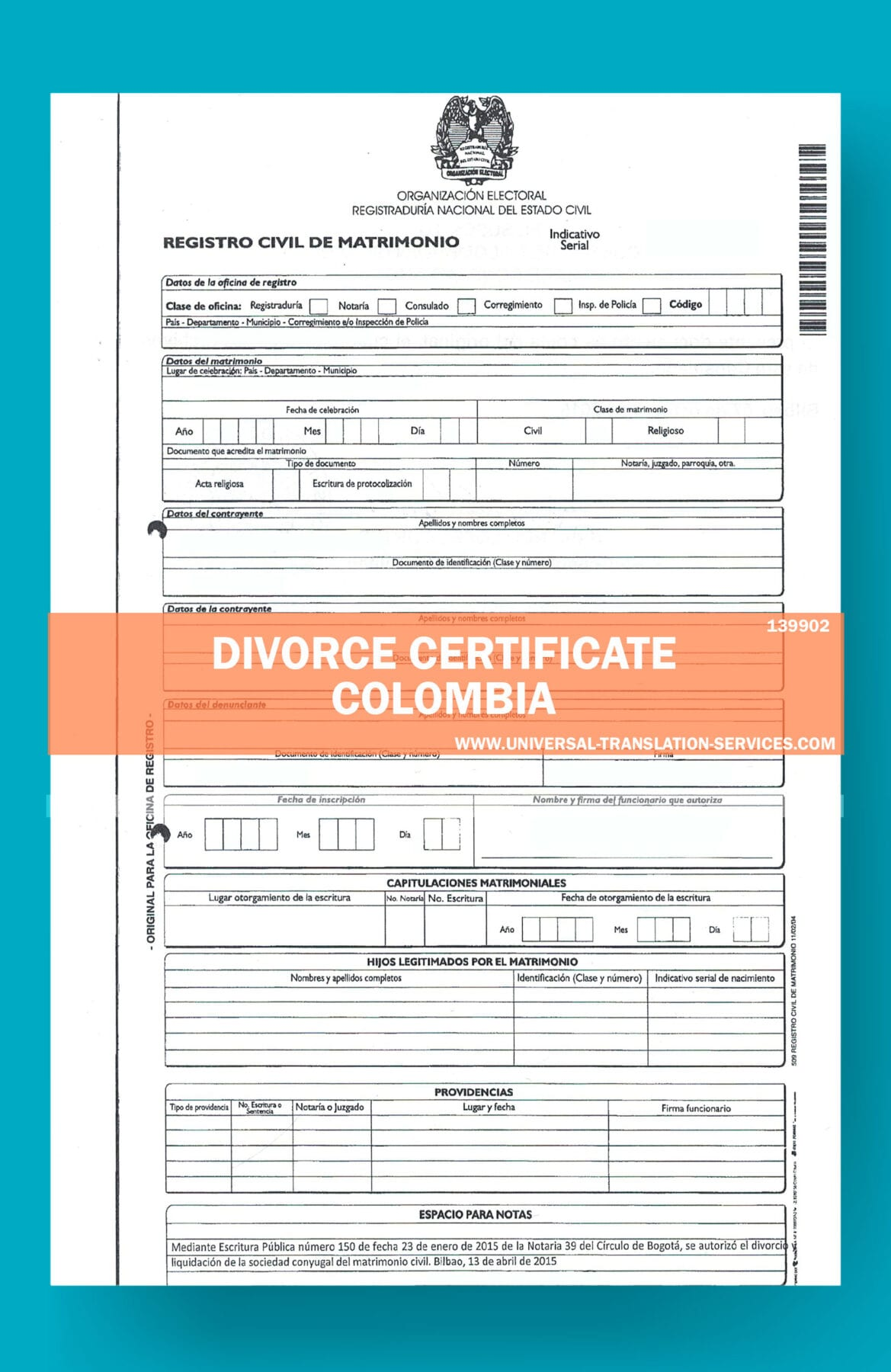 divorce certificate colombia translation cert document