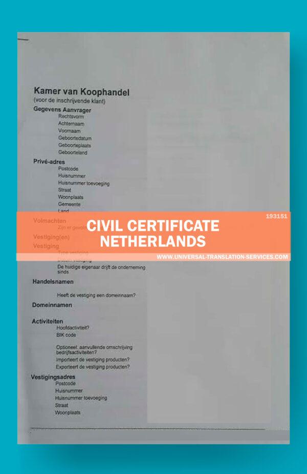 UTS193151 civil certificate netherlands